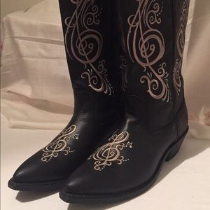 Shoes - Gorgeous Pre-Owned Music Note G Clef Cowgirl Boots